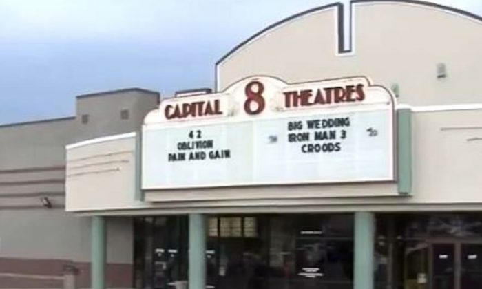 """Goodrich Capital 8 Theaters in Jefferson City, Mo., where a promotion for """"Iron Man 3"""" scared instead of entertained customers in early May 2013. (Screenshot/ABC17News.com)"""