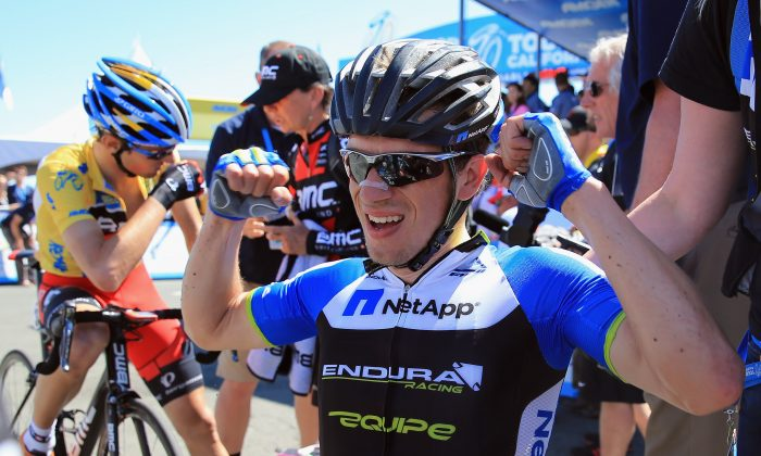 Leopold König of NettApp-Endura celebrates his victory as Tejay van Garderen of BMC Racing defended the overall race leader's yellow jersey in Stage Seven of the 2013 Amgen Tour of California from Livermore to Mount Diablo on May 18, in Clayton, California. (Doug Pensinger/Getty Images)