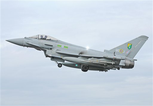 Undated photo issued by the British Ministry of Defence of an RAF Typhoon Aircraft of the type that has escorted a passenger plane into Stansted Airport in southern England following an incident on board Friday May 24, 2013. British media reported the flight was a Pakistan International Airlines passenger plane flying to Manchester, England. (AP Photo/ MOD via PA)