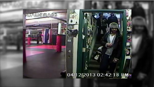 A still from the survelliance video showing the Tsarnaev brothers three days before the Boston Marathon bombings, entering a mixed martial arts gym. (Screenshot/Boston Globe)