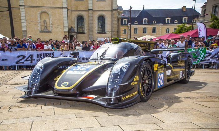 One of the Lotus Praga T128 LMP-2 cars waits at scrutineering for the Le Mans 24 on Sunday, June 16. (lotus-lmp2.com)