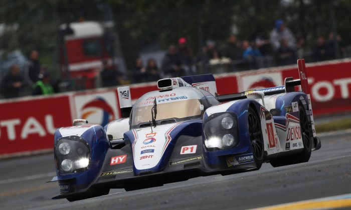 Toyota's 2013 LMP1 car in action at the 90th Le Mans Test Day at Circuit de la Sarthe in France, June 9, 2013. (Toyota Motorsports.com)