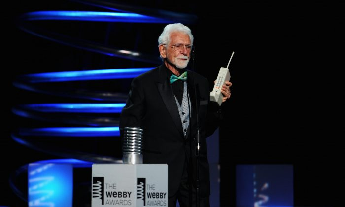 Inventor Martin Cooper accepts his award onstage during the 15th Annual Webby Awards on June 13, 2011 in New York City. His trademark invention the Motorola DynaTAC 8000x is turning 30 this year. (Jamie McCarthy/Getty Images for The Webby Awards)