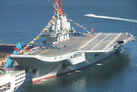 """Chinese state media reported that 15 men died during construction of the """"Liaoning"""" aircraft carrier. (Epoch Times archive)"""