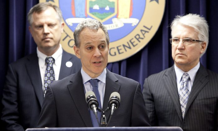 New York State Attorney General Schneiderman speaks at a press conference in Manhattan on June 13, 2013.  (Samira Bouaou/Epoch Times)