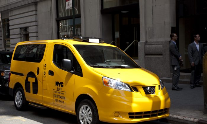 The Taxi of Tomorrow on Beaver St, New York, June 20. (Samira Bouaou/Epoch Times)