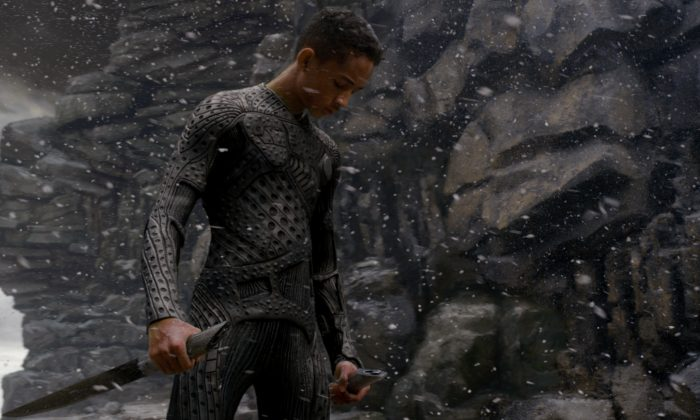 """Kitai Raige (played by Jaden Smith) is a soldier cadet who fights hostile aliens in the science fiction film """"After Earth."""" (Courtesy of Columbia Pictures)"""