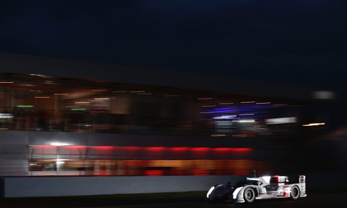 The #2 Audi e-tron quattro driven by Loic Duval leads at Le Mans after seven hours. (Audi Motorsports)