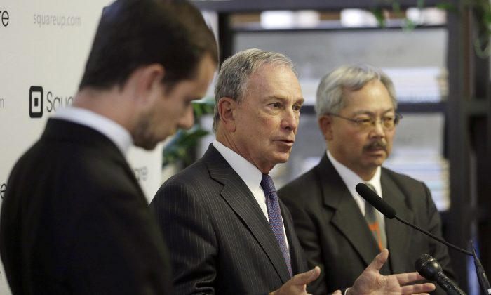 New York Mayor Michael Bloomberg (C), speaks between San Francisco Mayor Ed Lee (R), and Square CEO Jack Dorsey at a news conference in San Francisco on June 14, 2013. Mayor Bloomberg and Mayor Lee announced they were sponsoring a pair of technology summits to be held in each of their cities in the following year. (Jeff Chiu/AP Photo)