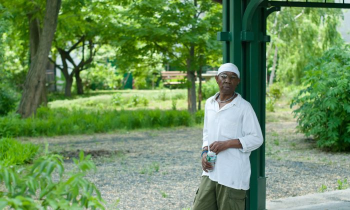 Troy Lancaster, a photographer and activist, stands in the Dred Scott Bird Sanctuary in the South Bronx. Lancaster helped get the park and the surrounding parks built, and does programs to mentor and teach local kids. (Joshua Philipp/The Epoch Times)