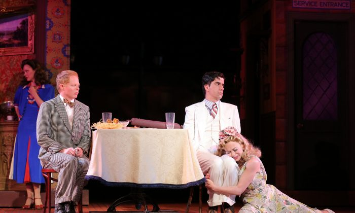 """(L–R) Rachel McMullin, Jesse Tyler Ferguson, Hamish Linklater, and Emily Bergl in The Public Theater's Shakespeare in the Park production of """"The Comedy of Errors."""" (Joan Marcus)"""
