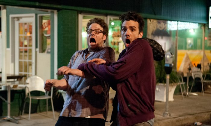 """Seth Rogen, left, and Jay Baruchel in """"The End of the World."""" (Sony Pictures)"""