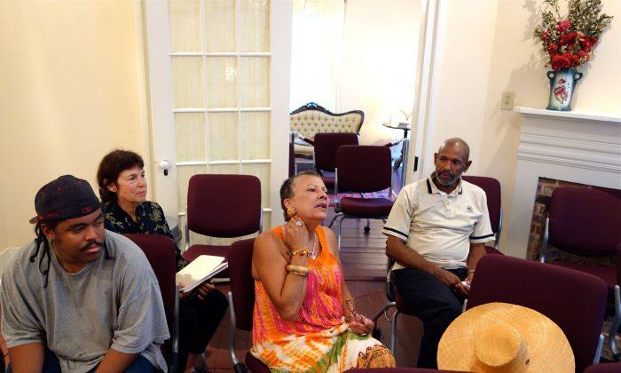 (L-R) Adrian Harper, Susan Goldin, Evangeline Woods, and William Akbar at the Sallie Ellis Davis House on June 4. (Mary Silver/The Epoch Times)