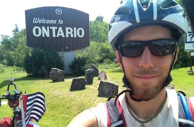 Jeremy Bally arrives in Ontario during his Pedalling for Papua campaign last year. Bally recently kicked off this year's 12,000 km bike ride to spotlight persecution of the West Papuan people in Indonesia. (Courtesy Jeremy Bally)