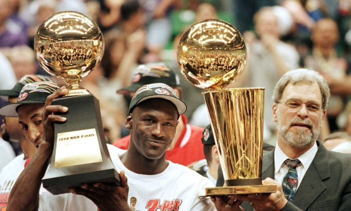 Michael Jordan L And Chicago Bulls Head Coach Phil Jackson R Most Valuable Player Trophy The Larry OBrian 14 June After Winning Game