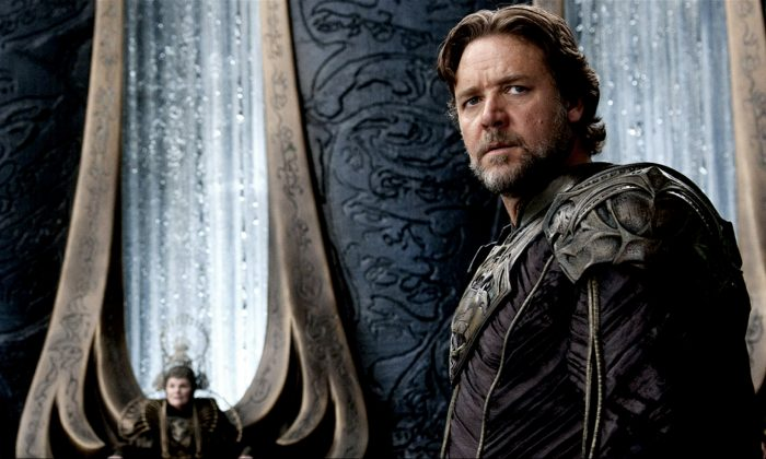 """Russell Crowe when he appeared in """"Man of Steel."""" (Clay Enos/Warner Bros. Pictures)"""