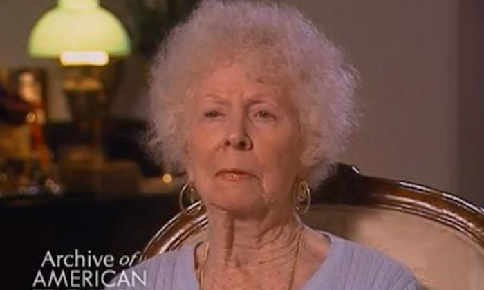 Actress Maxine Stuart, 94, in an interview with the Archive of American Television. Stuart died June 6, 2013. (Screenshot/Youtube)