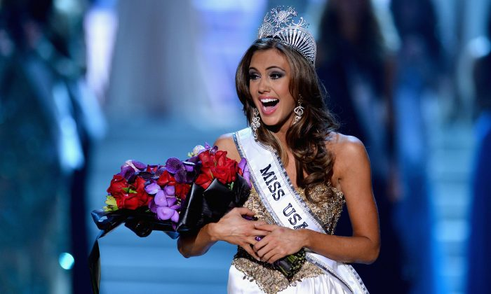 Miss Connecticut USA Erin Brady reacts after being crowned Miss USA during the 2013 Miss USA pageant at PH Live at Planet Hollywood Resort & Casino in Las Vegas, Nev., on June 16, 2013. (Ethan Miller/Getty Images)