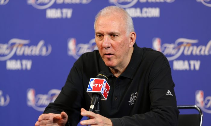 Head coach Gregg Popovich of the San Antonio Spurs addresses the media before Game 1 of the 2013 NBA Finals at American Airlines Arena against the Miami Heat on June 6 in Miami, Florida. (Mike Ehrmann/Getty Images)