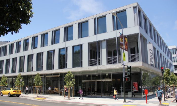 The new SFJAZZ Center on Franklin Street in San Francisco, Calif., June 5, 2013. Thanks to tax credits under a city program allocated to the center, it was able to open this year on schedule. (Christian Watjen/The Epoch Times)