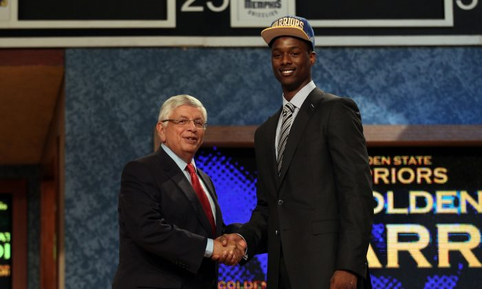Harrison Barnes (R) of North Carolina greets NBA Commissioner David Stern (L) after he was selected number seven overall by the Golden State Warriors during the first round of the 2012 NBA Draft at Prudential Center on June 28, 2012 in Newark, New Jersey. (Elsa/Getty Images)