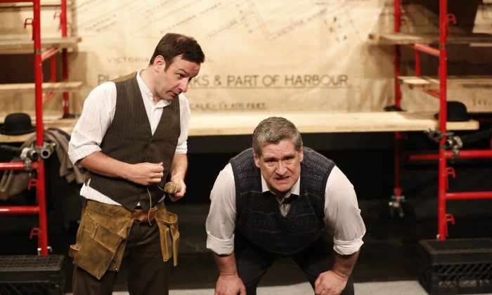 """(L–R): Michael Condron and Dan Gordon in """"The Boat Factory,"""" performing in Brits Off Broadway at 59E59 Theaters. (Carol Rosegg)"""