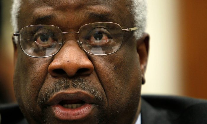 A file photo of U.S. Supreme Court Justice Clarence Thomas on April 15, 2010. (Alex Wong/Getty Images)