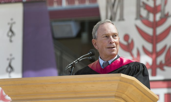Mayor Michael Bloomberg speaks at the Stanford University commencement ceremony on June 16. (Linda Cicero, Stanford News Service)