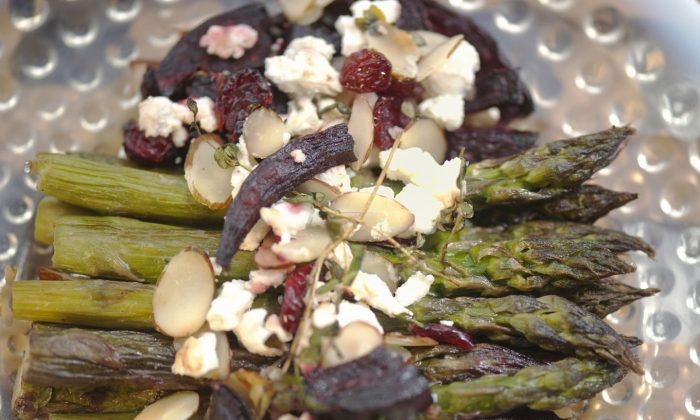 Roasted Asparagus, Beet, and Chèvre Chaud. (Cat Rooney/The Epoch Times)