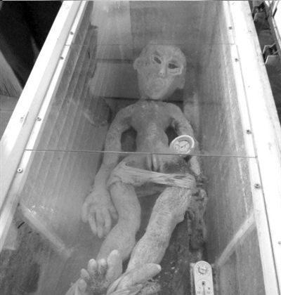 Li Kai displays alien body in icebox, June 8, 2013. (weibo.com)
