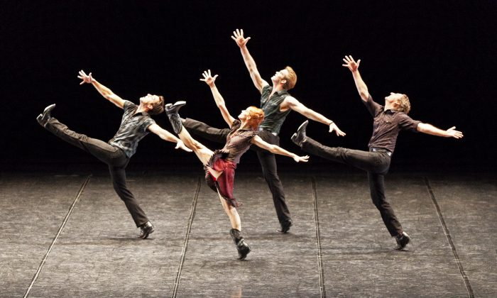 """Jonathan Renna, Stephanie Hutchison, McGee Maddox, and Kevin D. Bowles in the National Ballet of Canada's production of """"The Man in Black."""" (Aleksandar Antonijevic)"""