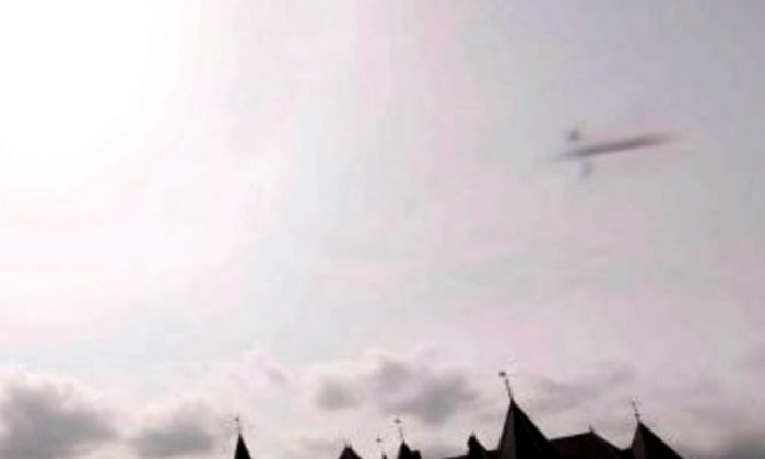 A screenshot of YouTube shows the purported UFO over the Netherlands.