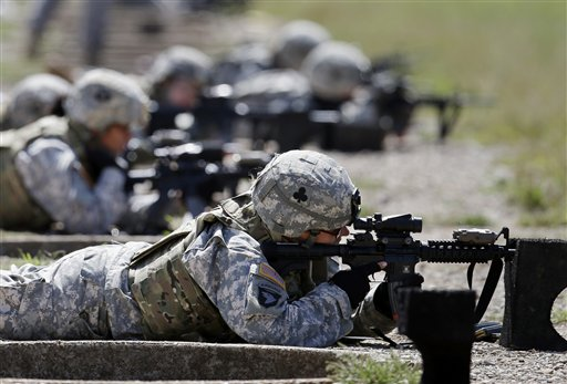 In this Sept. 18, 2012 file photo, female soldiers from 1st Brigade Combat Team, 101st Airborne Division train on a firing range   (AP Photo/Mark Humphrey, File)
