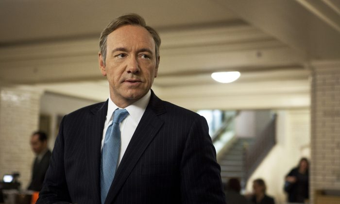 "This image released by Netflix is Kevin Spacey as U.S. Congressman Frank Underwood in a scene from the Netflix original series, ""House of Cards."" (Melinda Sue Gordon/AP Photo/Netflix)"