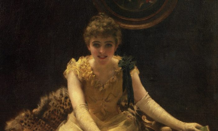 """A detail of """"The Ace of Hearts,"""" 1882, by Thomas Benjamin Kennington (1856-1916). Oil on canvas 50 3/8 by 40 9/16in.  (Image courtesy of Art Renewal Center)"""