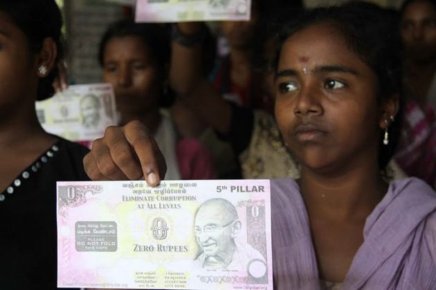 Indians Fight Corruption With Zero-Rupee Notes
