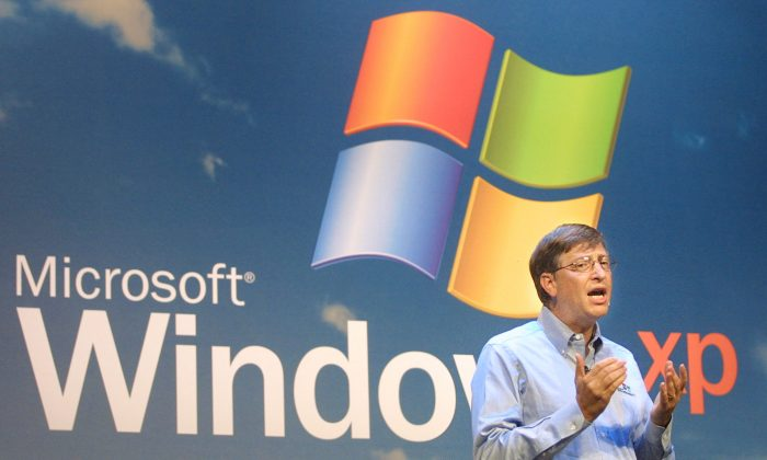 Microsoft Chairman Bill Gates speaks at the product launch of Windows XP operating system in New York City in this file photo. Statistics from Web analytics company StatCounter show China is one of the last countries where Windows XP is the most popular operating system. (Mario Tama/Getty Images)