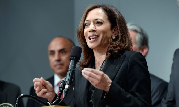 California Attorney General Kamala Harris speaks at a news conference in Los Angeles, Calif., May 17, 2013. (Photo by Kevork Djansezian/Getty Images)