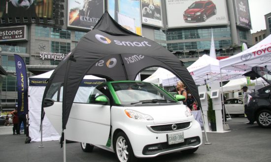 The 2 Seater Electric Smart Car Was Open For Inspection At Dundas Square During