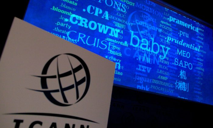 A screen shows a rolling feed of new Generic Top-Level Domain Names that have been applied for, during a press conference hosted by ICANN in central London, on June 13, 2012. Recently ICANN has become an international organization and authoritarian regimes are looking to put their impress on the Internet. (Andrew Cowie/AFP/GettyImages)
