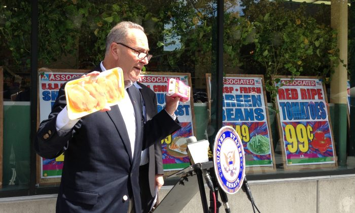 Sen. Charles Schumer (D-N.Y.) speaks about the danger of food imports from China outside a supermarket on East 14th Street in Manhattan, New York City, Sept. 15, 2013. (Ivan Pentchoukov/Epoch Times)