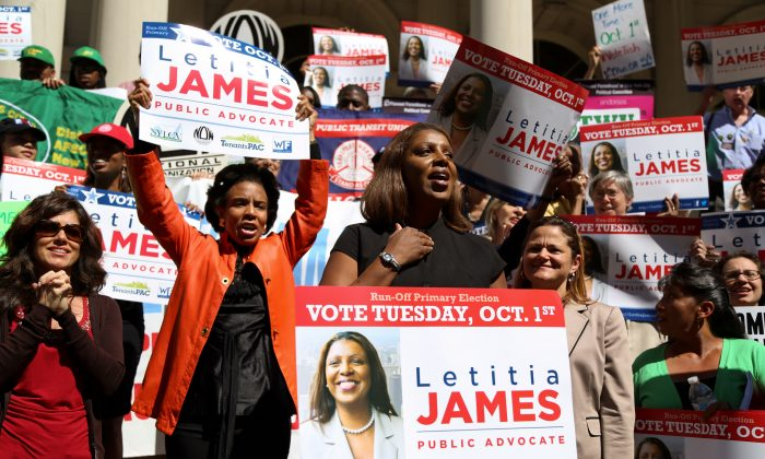 Letitia James (C) speaks at a rally on the steps of City Hall, New York City, Sept 19, 2013. (Christian Watjen/Epoch Times)