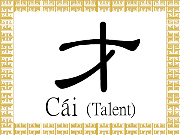 The Chinese character 才 (cái) is a pictogram that depicts a sprouting plant.