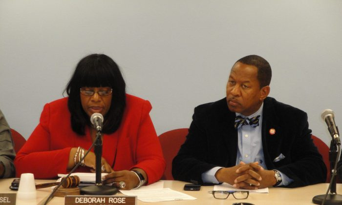 Councilwoman Deborah Rose and Councilman Andy King at a Committee on Civil Rights meeting, Lower Manhattan, Sept. 23, 2013. (Sarah Matheson/Epoch Times)