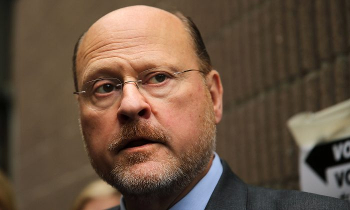 Republican mayoral candidate Joe Lhota speaks to the media after voting in the New York City mayoral primary, Sept. 10, 2013. He will face Bill de Blasio Nov. 5 in the general election. (Spencer Platt/Getty Images)
