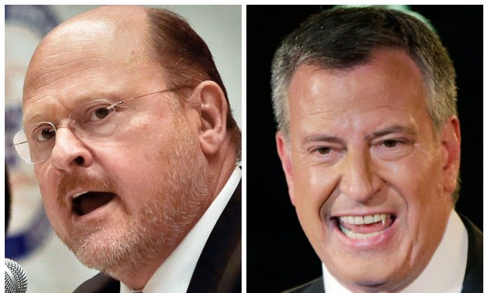New York City Republican mayoral nominee Joe Lhota on Aug. 6, 2013 (L) and Democratic mayoral nominee Bill de Blasio on Sept. 10, 2013 (R). (AP Photo/File)