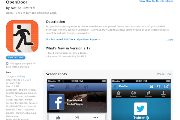 A screenshot of the OpenDoor App for iPhone and iPad on iTunes. (Epoch Times)