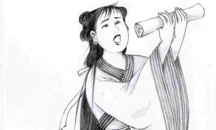 Ti Ying, the courageous daughter whose eloquent plea to rescue her father launched the reform of corporal punishment in the early Han Dynasty. (Blue Hsiao/Epoch Times)