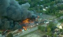 Detroit: Massive Industrial Fire on West Side Abandoned Warehouse; HAZMAT Called In