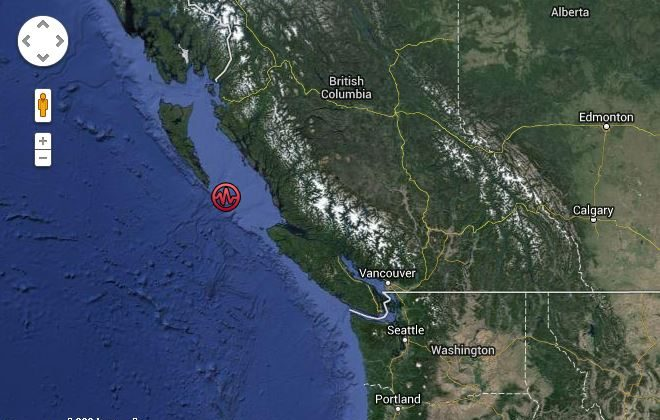 The location of the earthquake. (The West Coast and Alaska Tsunami Warning Center)